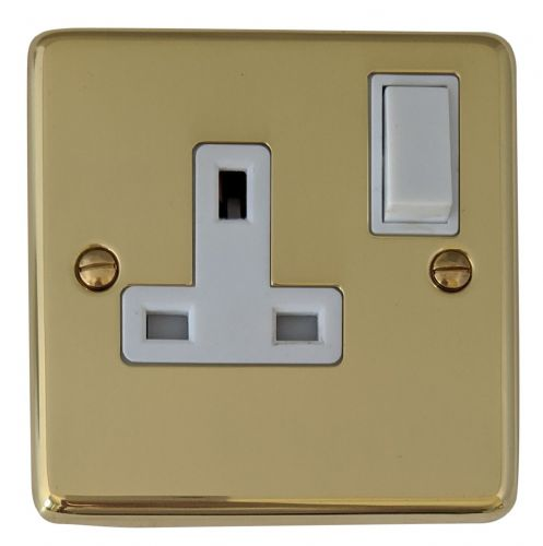 G&H CB9W Standard Plate Polished Brass 1 Gang Single 13A Switched Plug Socket